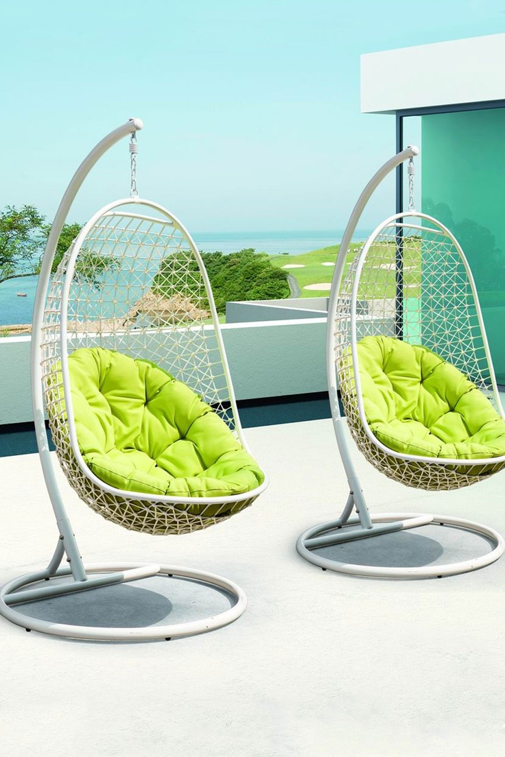 Unbelievably Relaxing Piece Of Furniture Hanging Chair : Stylist Outdoor Hanging Chairs With Sturdy White Wire Mesh And Bright Plain Green Cushions Located On A Sunny Deck
