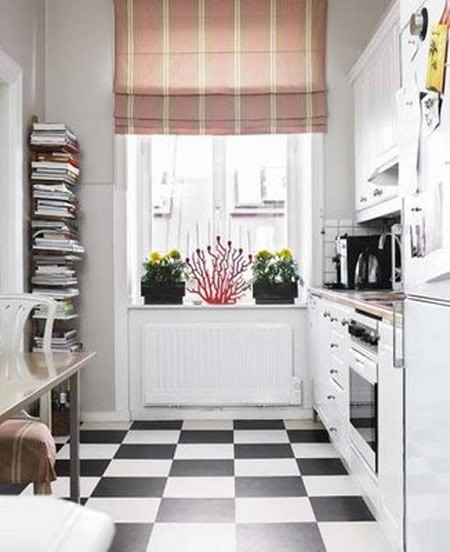 Bright Colorful Cotemporer Pantry: Sunny Cool Small Kitchen With Checkers Floors With Bay Widow And White Pantry With Sink And Stove And Plat Decoration
