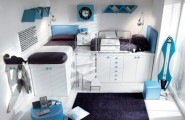 Colorful Bright Teenage Loft Bedrooms : Sunny Fun Blue Loft Teenage Double Bedroom Simple With Dark Blue Fur Rug Desk Combination Hidden Drawers With White Painted Wall Cabinet And Wall Decoration