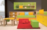 Calm and Ergonomic Bedroom Ideas for Kids : Super Ergonomic Comfy Cool And Ergonomic Bedroom Ideas For Two Children With Simple Wood Study Chairs And Table Also Red Fur Rug