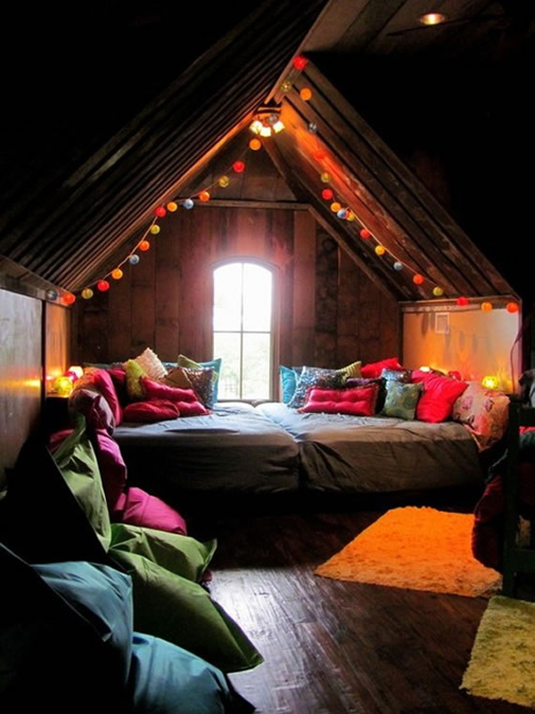 Healthy Home: Surprising Healthy Home Bedroom Colorful Cushions Rug Wooden Floor Exposed Sloping Ceiling Attic