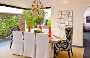 Beautiful Slip Covers For Dining Chairs : Surprising Mediterranean Dining Room Slip Covers For Dining Chairs Furniture Mixes Bold Contemporary Pieces With More Relaxed Traditional Pieces And Is Set Against Floor To Ceiling Glass Doors