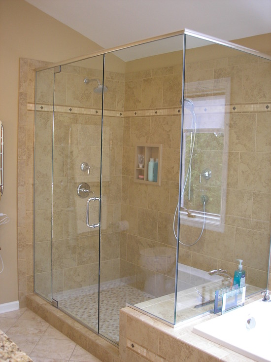 All Kind Pictures Of Best Tile For A Shower: Surprising Traditional Bathroom Best Tile For A Shower Large Square Tiles In Running Bond Pattern Small Tile Floor Big Tiles Wall Brick Pattern And Accents