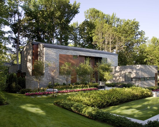 Home Curbside Landscaping Ideas: Sustainable Long Island Residence Modern Landscape With Wonderful Linear Complement Mix Of Modern Exterior With Planting Gorgeous Rock On Side Mature Trees Behind The House