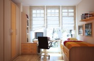 Room color ideas for teenage girls : Tall Windows Sunny Airy Fresh Cabinet Drawers Desk Daybed Simple Clean Room