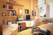 Room color ideas for teenage girls : Tanned Orange Fun Fresh All Age Daybed Drawers Desk Painted Wall Sunny Airy Room