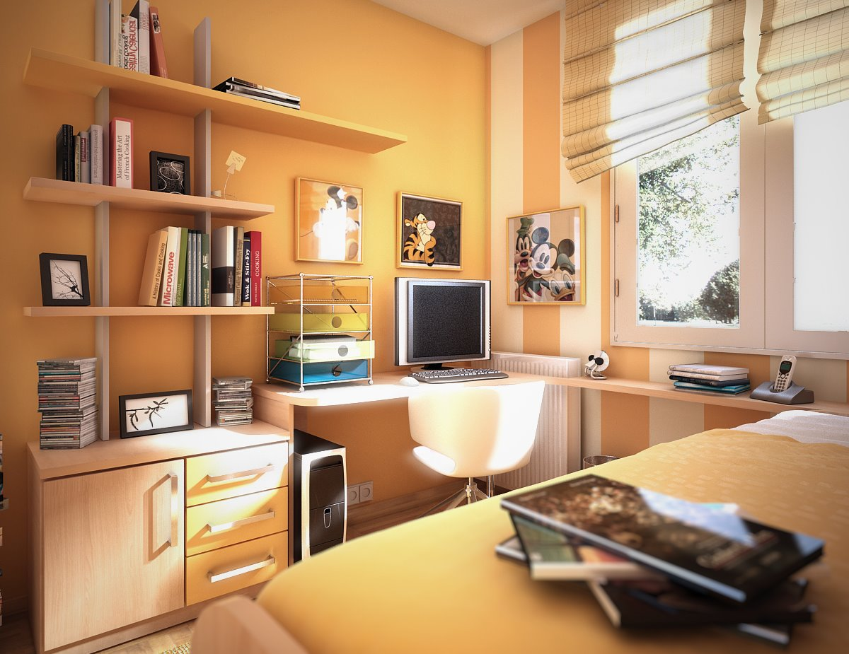 Room color ideas for teenage girls: Tanned Orange Fun Fresh All Age Daybed Drawers Desk Painted Wall Sunny Airy Room