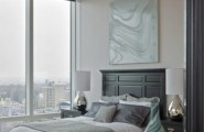 Breathtaking Blue And Gray Bedrooms For Romantic Person : Teriffic Bedrooms Skyscaper View Simple Stylist Design Chrome Night Lamps White Flower Arrangement In A Clear Glass Vase Decoration Cool Wall Decor