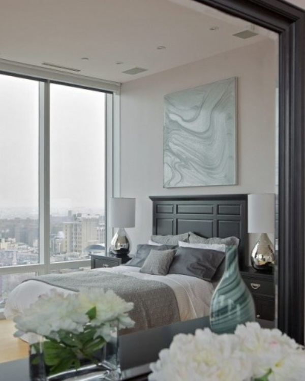 Breathtaking Blue And Gray Bedrooms For Romantic Person : Teriffic Bedrooms  Skyscaper View Simple Stylist Design