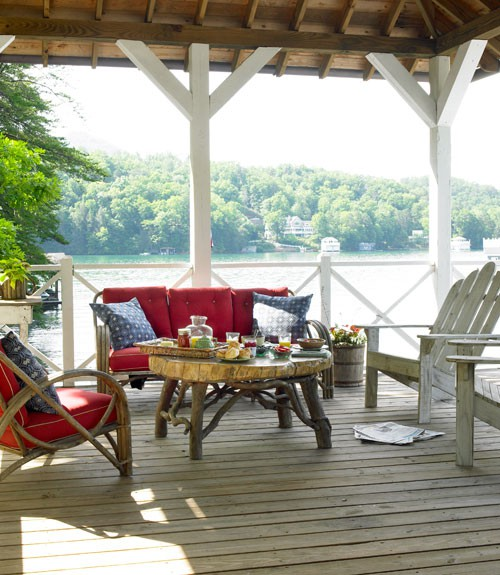 Motivational Pictures To Inspire You To Design Your Home Deck: Teriffic Breezy Outdoor Deck Design With Cozy And Friendly Seating Area In A Surprising Wooden Cabin Porch Decoration By A Quiet Lake Exposed Rooftop