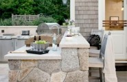 Inspiring Display Of Completed Outdoor Kitchens : Terrific Completed Outdoor Kitchens Design Ideas Used Stones Material In This Outdoor Kitchen Having An Open Layout Giving One A Good View Of The Surroundings