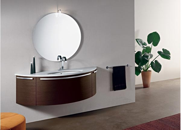 Bathroom Vanity Inspiration: Stylish Contemporary Bathroom Vanities : Terrific Contemporary Bathroom Vanities Design With Round Mirror And Cool Washbasin Cabinet With Rug And Concrete Flooring Ideas