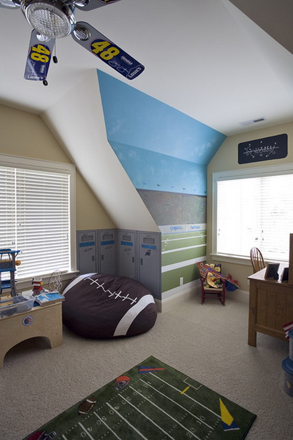 Astonishing Blue Decoration Color For Boys Bedroom Design Ideas : Terrific Decoration Blue Color For Boys Bedroom Design Accent Fabrics And Wall Modern Spacious Bed American Football Sports Themed Rooms Design