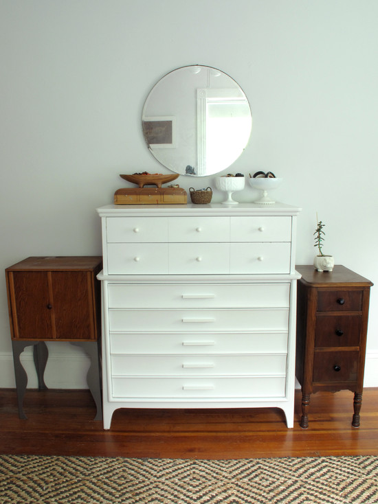 Cozy Small Dresser With Mirror: Terrific Eclectic Bedroom Dresser Wood And White And Round Mirror Above Dresser
