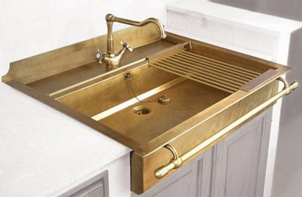 Classic Look Kitchen Sink Design For Kitchen Remodel: Terrific Favorite Kitchen Sinks From Beautiful Designer Kitchens Featured With Bright Gold Facet Retro Vintage Kitchen Sinks Model
