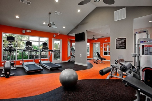 Atonishing In House Gym Space Design For Urban Living : Terrific Home Gym Pretty Interior With Beautiful Exercise Space And Dance Studio Includes Custom Made Barre
