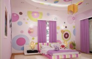 Inspiring Kids Planning Girls Bedroom Using Colorfull Patern : Terrific Inspiring Gilrs Planning Bedroom Design Ideas Furniture Color Creations Interior Bubble Decor Fun Wallpaper Purple Curtain