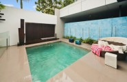 Masculine Outstanding Beach House Design : Terrific Masculine Modern Small Pool Beach House Design With Bay Window