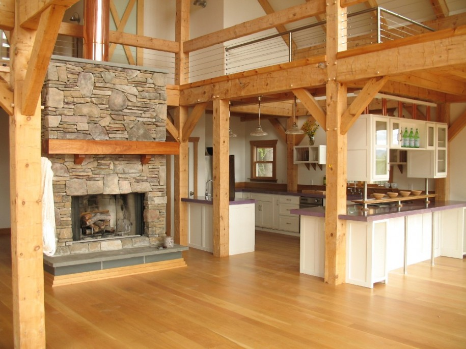 Terrific Woodhouse Concept Design That Can Produce All You Need In House: Terrific Wood House Concept Design That Can Produce All You Need In House With Clean Natural Stone Fire Place Wood House Kitchen Interior Design