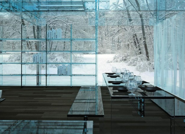 Unique Appearance Of Wonderful Glass House From Europe: Terrific Wooden Floor Design House From Europe With Glass Dining Table Amazing Large Glass Shelf Wooden Bench ~ stevenwardhair.com Exterior Design Inspiration