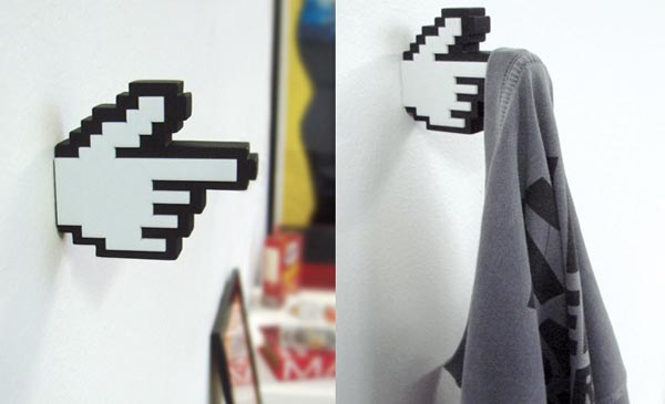 The Most Creative Wall Hook Design: The 8 Bit Pixelated Pointy Finger Coat Hangers Is A Perfect Retro Style Hanger