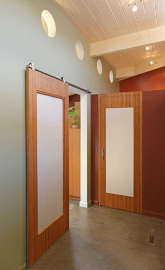 Cozy Translucent Sliding Doors : The Barn Style Sliding Door And The Color At Midcentury Hall