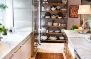 Decorate Bakers Rack For Your Kitchen : The Dish Rack For Main Wal And Bakers Rack At Industrial Kitchen