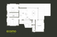 Ecomo House: An Amazing Compact Modern Green Sustainable Residence In Mesmerizing Landscape : The Ecomo House Plan Layout Consists Of Three Bedrooms And One Large Living Room Which Includes A Dining Table And A Lounge Area