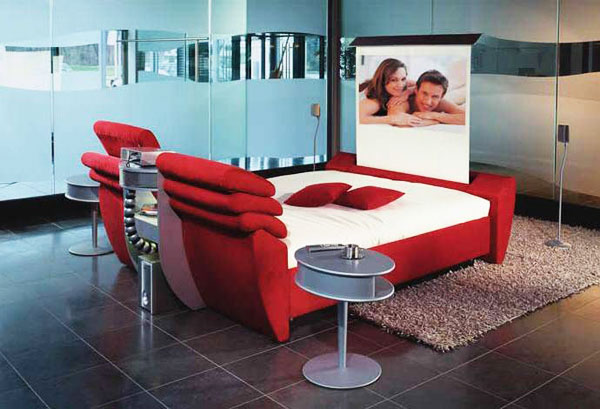The Most Extreme Modern Beds : The RUF Cinema Bed Is Most Extreme Modern Bed That Have Features A Home Cinema Rack Fitted Between The Two Headboard 1