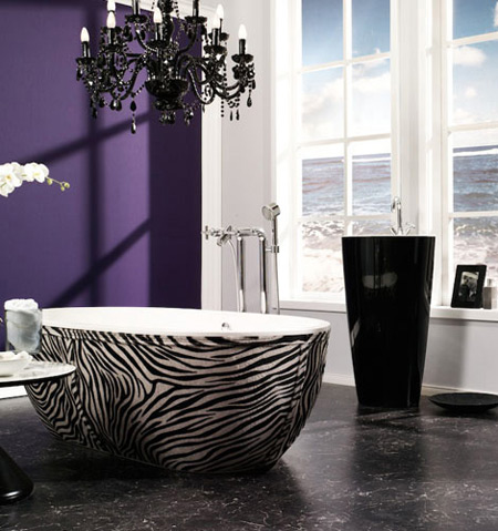 Stunning Most Creative Bathtub Design Ideas: The Stone One Leather Skirting Bathtub Daring Zebra Printed Finish Design From Aquamass