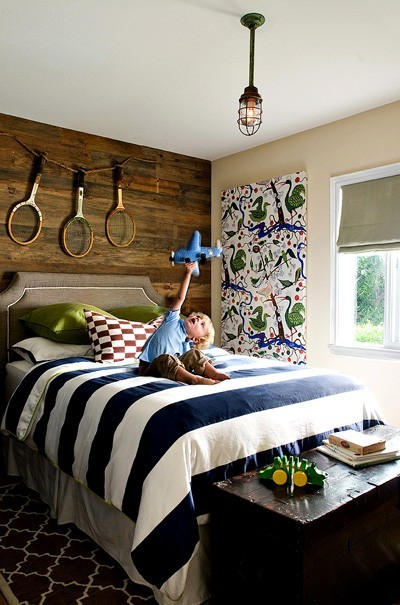Awesome Reclaimed Wood Wall Design Ideas: This Gorgeous Reclaimed Wood Wall Totally Looks Like Something Out Of Pottery Barn Kids Interior Design With Bed White Blue Stripe Bedcover And Tennis Racket As Wall Decor Ideas