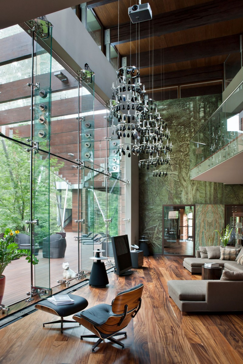 Fabulous Glass And Metal Decoration For House Interior Design Ideas : Three Chandeliers Large Glasses Wall Brown Sofas Large Bright Glasses Door Glasses Indoor Modern Deck Railing Cute Pendant