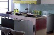 Modern Kitchen Designs for Small Spaces : Tiny Kitchen With A Steel Breakfast Bar1