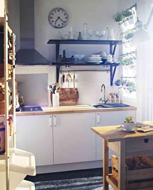 Modern Kitchen Designs for Small Spaces : Tiny Kitchen With A Vertical Herbs Garden1
