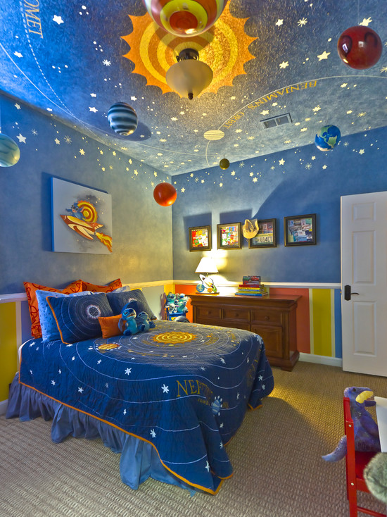 Amazing Boys Bedroom Paint Color Schemes: Toddler Contemporary Boys Bedroom Color Schemes Filled With Hand Painted And Ceiling Suspended Planets Moons Asteroids Comets And Other Exciting Objects