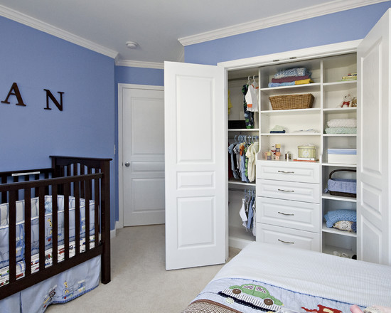Beautiful Baby Closet Organizer Ideas: Traditional Angled Closet In Babys Room With More Drawer Space Hanging Space And Shelving