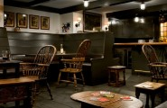 Marvellous Irish Pub Decorating Ideas With Vintage And Classic Touch : Traditional Basement Authentic Pub Feel With Side Seating Vintage Wooden Stools And Tables Beer Coaster