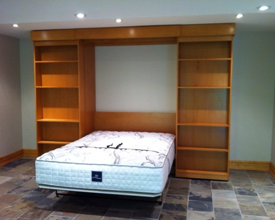 Cozy Fold Down Beds For Small Spaces : Traditional Basement Murphy Bed In  The Open Position