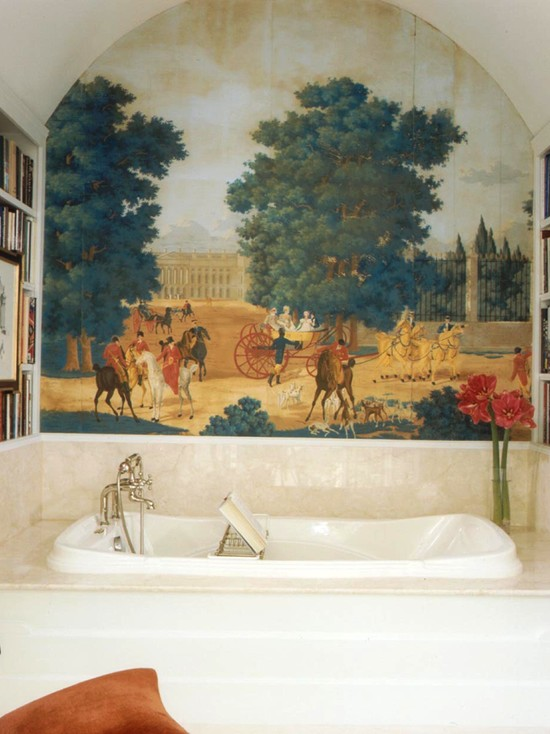 Beautiful Wall Murals For Living Room: Traditional Bathroom And Beautiful Mural Is An Antique Dufour Hand Blocked Mural That Sroka Had Removed From An Old House And Installed In This Room