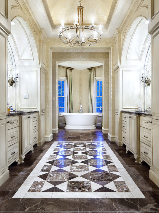 Beautiful Candice Olson Bathroom Designs: Traditional Bathroom Candice Olson Aristocrat Chandelier With The Dark Floor And The Light Cabinets