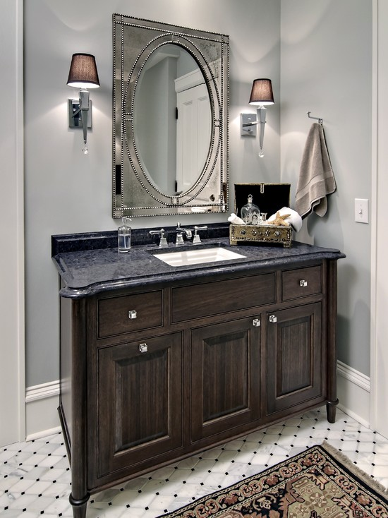 Beautiful Candice Olson Bathroom Designs: Traditional Bathroom Candice Olson Margo Chrome Wall Sconce Walnut Vanity With Custom Stain Knob And Mirror ~ stevenwardhair.com Bathroom Design Inspiration