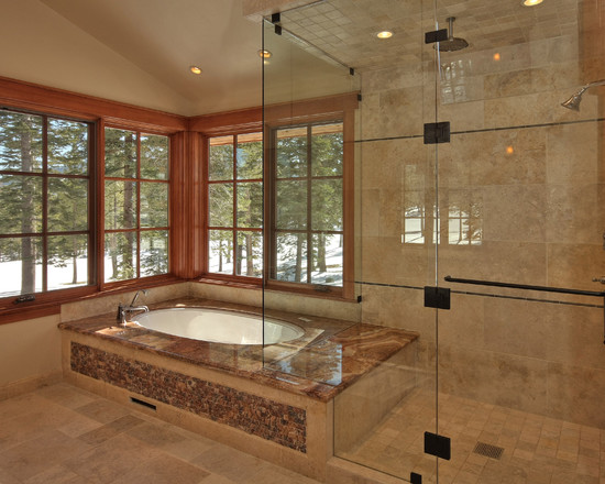 Whirlpool, Bathtub and Shower Combination: Traditional Bathroom Master Roman Tub Brushed Nickel And Shower Woodframed Windows Steam Shower