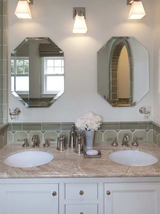 Interesting Small Beveled Mirror Tiles: Traditional Bathroom Separate Mirrors And Single Lights Backsplash Height And Beveled Mirror
