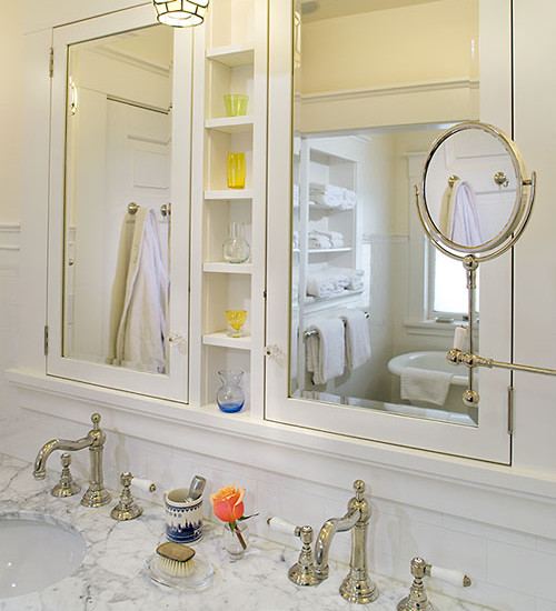 Custom and Built-in Medicine Cabinet: Traditional Bathroom With Medicine Cabinet Double Mirror With Shelf In Between Custom Mirror Cabinets Framed