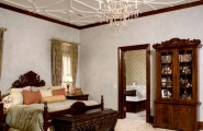 How To Plaster Ceilings Of Your Home : Traditional Bedroom Custom White Ceiling Plaster Using Universal Tint Venetian Plaster Wall And Gold Mica Dust Mix With Wax At Top