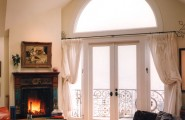 Charming French Door Curtain Rod Designs : Traditional Bedroom French Doors In Bedroom With Fireplace Existing Doors And Window On Master Balcony And Molding Around Window Top Of Door