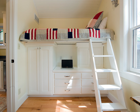 Cozy White Beadboard Bedroom Furniture: Traditional Bedroom White Bead Board Ceiling White Drawers White Cabinets Bunk Bed Ladder Molding