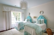 Apply Turquoise Bed Sheets For Amazing Bedroom : Traditional Bedroom With The Turquoise Light Blue Bedding Tufted Headboard Open Up The Space And The Lighting Fixture Is As Modern As A Chandelier