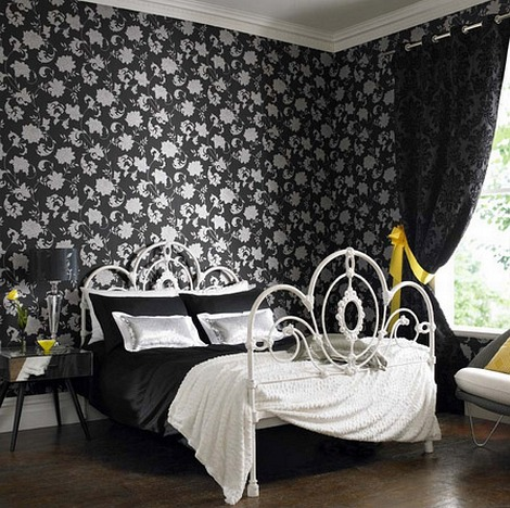 Traditional Fascinating House Interiors : Traditional Black And White Bedroom With Elegant Balck Abstrac Style Wallaper With Cozy Bed Made Up Of Rich Iron And Nice Sheet From The Best Fabrics With Nice View From Bay Window