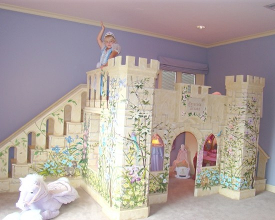 Amazing Kids Rooms Decorating Ideas For Girls : Traditional Castle Princess Loft Bed With Stairs And Slide Custom Kids Furniture Princess Playhouse